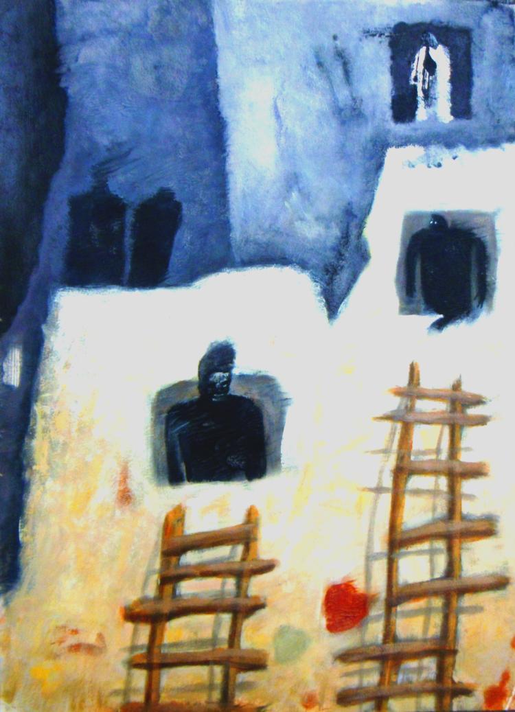 Dark Souls of My Neighbors-Acrylic Original-Romani
