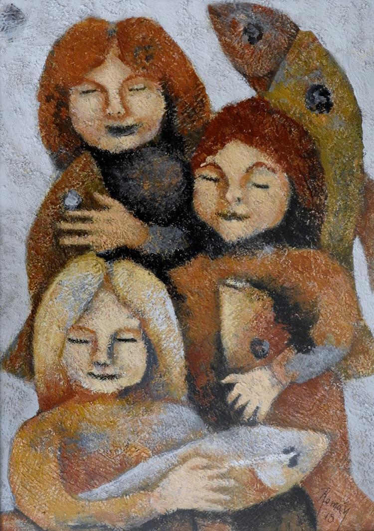 Multiplication of The Nymphs-Acrylic Original-Romani