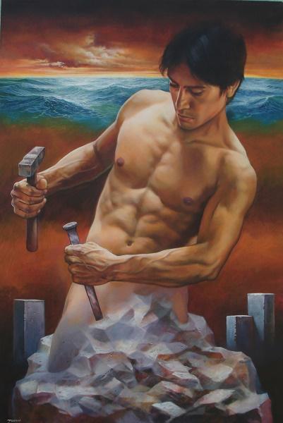 Self Made Man-Acrylic on Canvas Original Rafael Merinoo