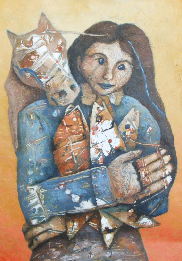 My Two Loves, Fishing & Horses-Acrylic Original-Romani