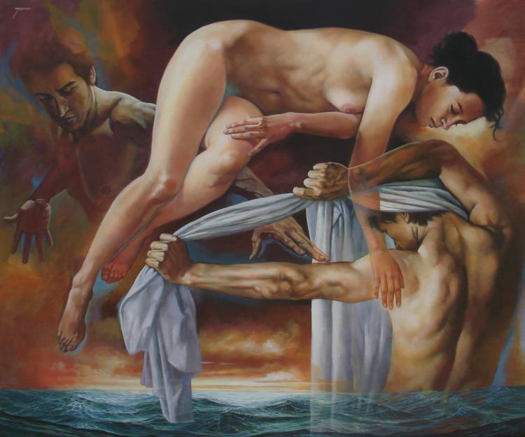 Points of Encounter-Acrylic on Canvas Original Rafael Merinoo