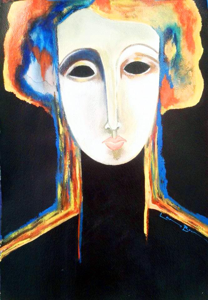 Elegant Lady-Acrylic on Archival Paper Original- Laura Bueno