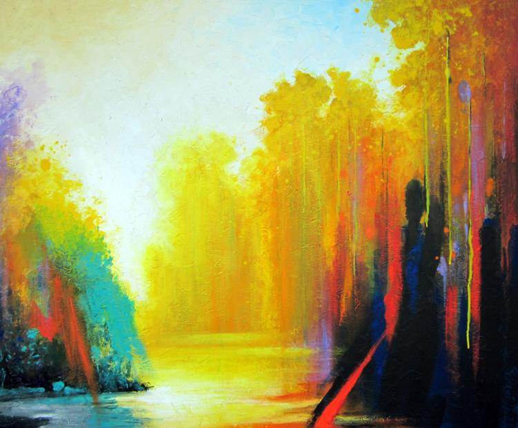 By The Lake- Original Mixed Media-High End Mexican Master-Modern Art