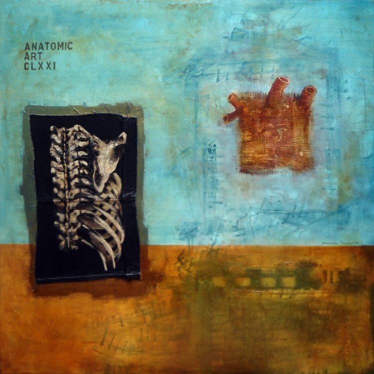 Square Heart- Oil & Charcoal on Canvas- Rene Rabadan