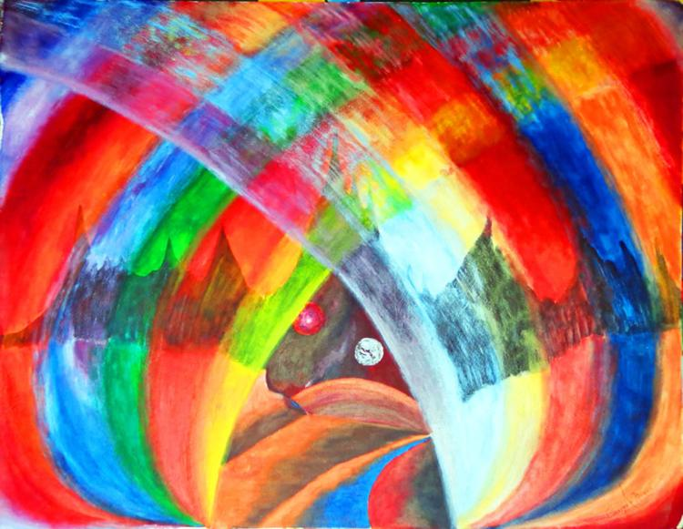 Rainbow-Mixed on paper by Enrique Nunez
