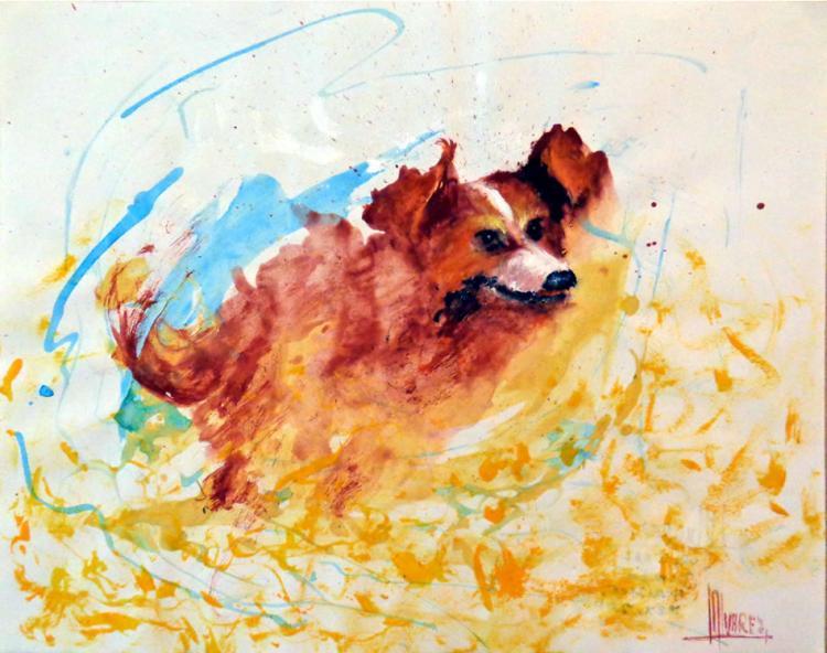 Running Dog- Acrylic on Canvas Original High End Alvarez