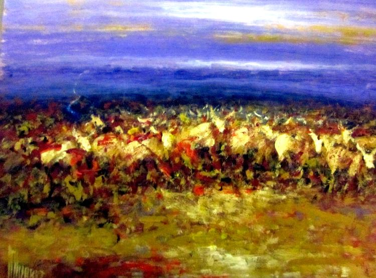 Marching on the Horizon- Original Mixed Media-High End Mexican Master-Modern Art