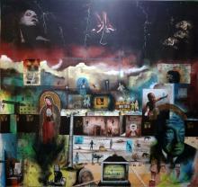 Original Mixed Media by Eduardo Talledos Mexican Surrealist