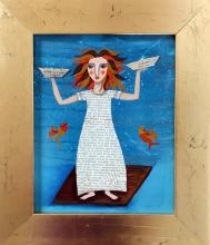 Original Acrylic on Wood Paper by Laura Bueno