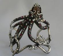 Sterling Silver Bracelet Inlaid with Semi Precious Stones-Original Design