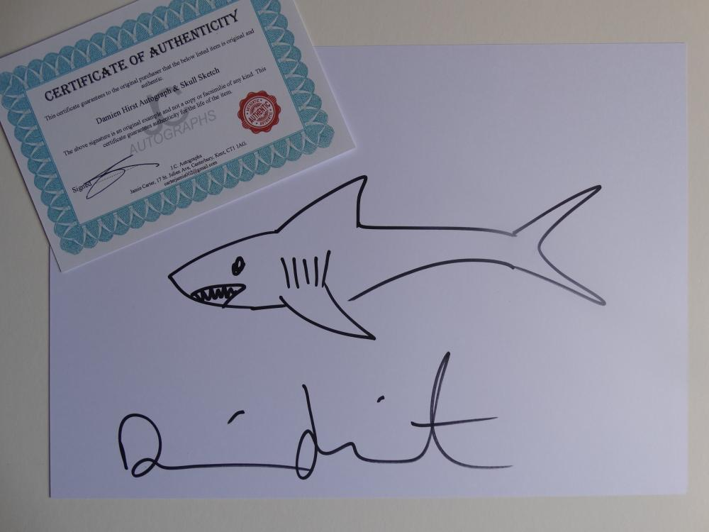 Damien Hirst Sketch And Authograph Coa