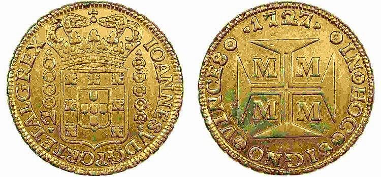 Brazil - D. João V - Dobrão 1727 MMMM, SCARCE
