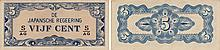 Paper Money - Netherlands Indies 5 Cents N/D (1942)