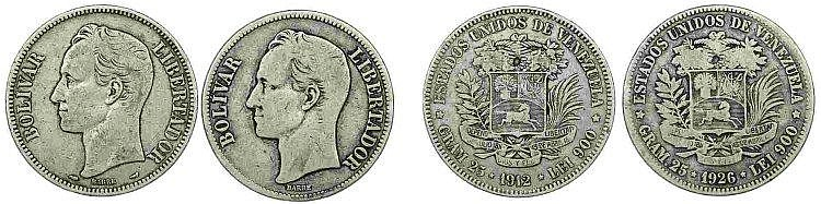 Venezuela - 2 coins, Gram 25 1912-26