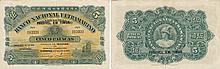 Paper Money - Timor 5 Patacas 1924