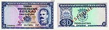 Paper Money - Timor 30$00 1959 ESPÉCIME