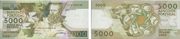 Paper Money - Portugal 5.000$00 ch. 2