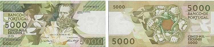 Paper Money - Portugal - 5000$00 ch. 2A 1991, Substituição