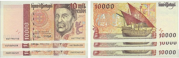 Paper Money - Portugal 3 specimens 10000$00 ch. 2 1996-1998