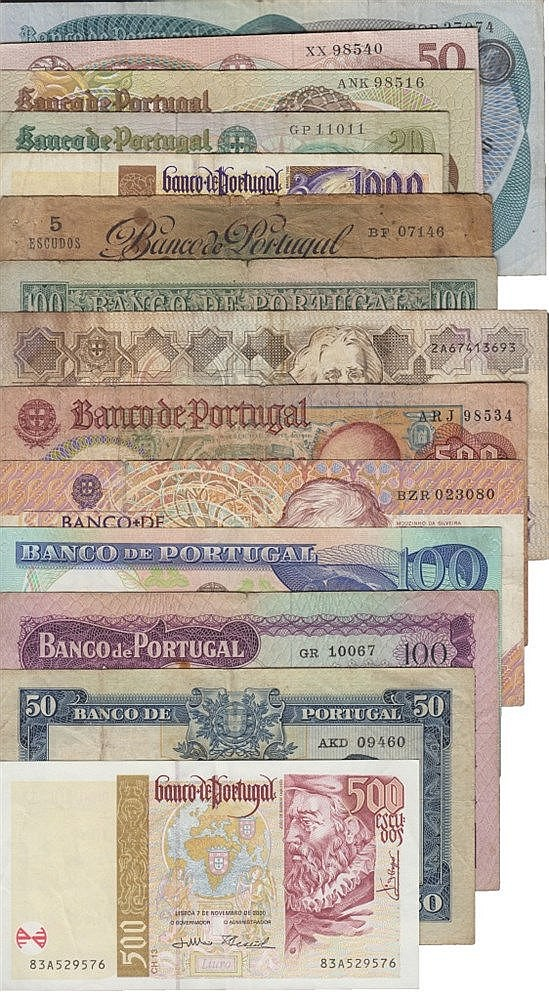 Paper Money - Portugal - 14 expl. 5$00, 20$00, 50$00, 100$00, 500$00, 1000$00 1920-2000