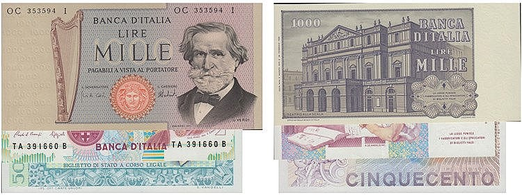 Paper Money - 3 expl. Italy 500, 1000 Lire ND(1969-81)-1990