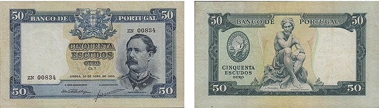 Paper Money - Portugal - 50$00 ch. 7 1953