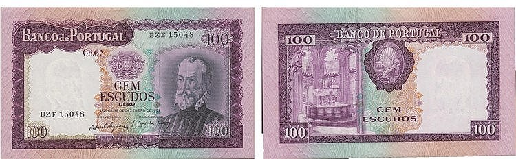 Paper Money - Portugal - 100$00 ch. 6A 1961