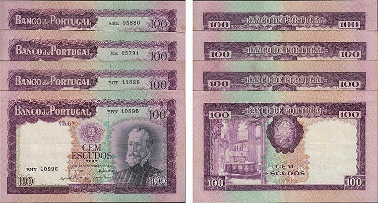 Paper Money - Portugal - 4 expl. 100$00 ch. 6A 1961