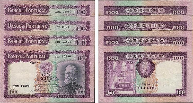 Paper Money - Portugal - 4 expl. 100$00 ch. 6A 1961