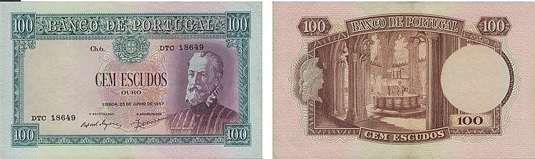 Paper Money - Portugal - 100$00 ch. 6 1957