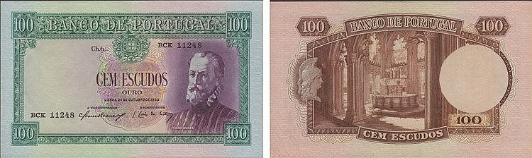Paper Money - Portugal 100$00 ch. 6 1950