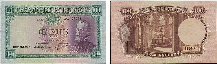 Paper Money - Portugal - 100$00 ch. 6 1950