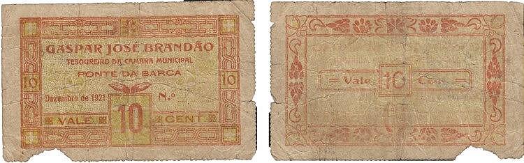 Cédula - Ponte da Barca 10 Centavos 1921