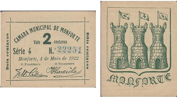 Cédula - Monforte 2 Centavos 1922