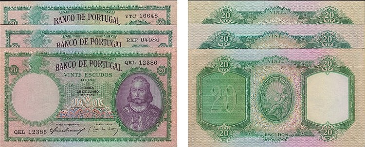 Paper Money - Portugal - 3 expl. 20$00 ch.6 1951-1959