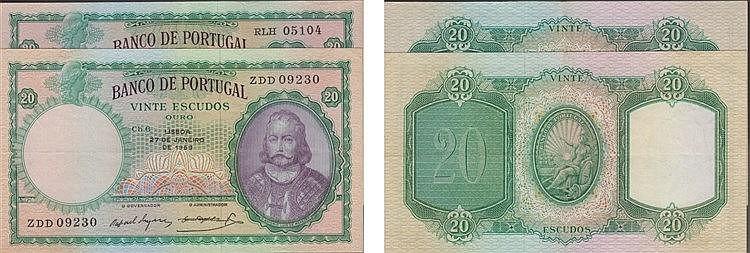 Paper Money - Portugal - 2 expl. 20$00 ch. 6 1954-1959