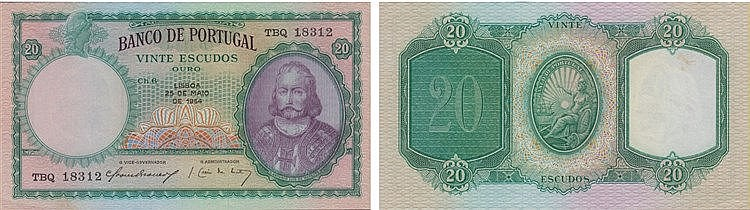 Paper Money - Portugal - 20$00 ch. 6 1954