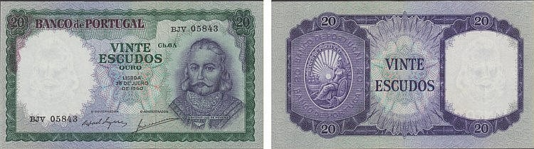 Paper Money - Portugal - 20$00 ch. 6A 1950