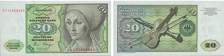 Paper Money - Germany 20 Deutsche Mark 1980