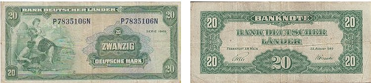 Paper Money - Germany 20 Deutsche Mark 1949