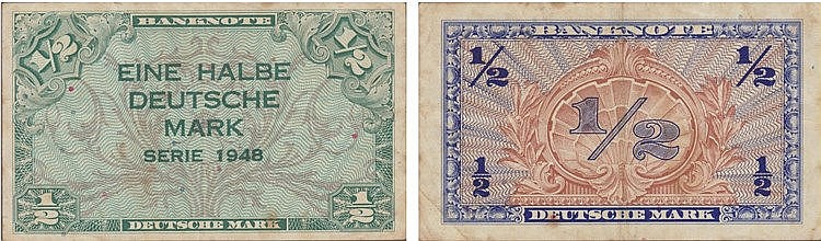Paper Money - Germany 1/2 Deutsche Mark 1948