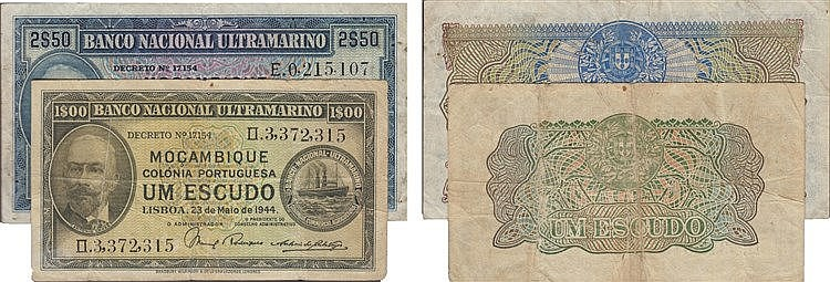Paper Money - Mozambique 2 expl. 1$00, 2$50 1944