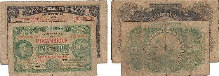 Paper Money - 2 expl. Mozambique 1$00, 5$00 1941