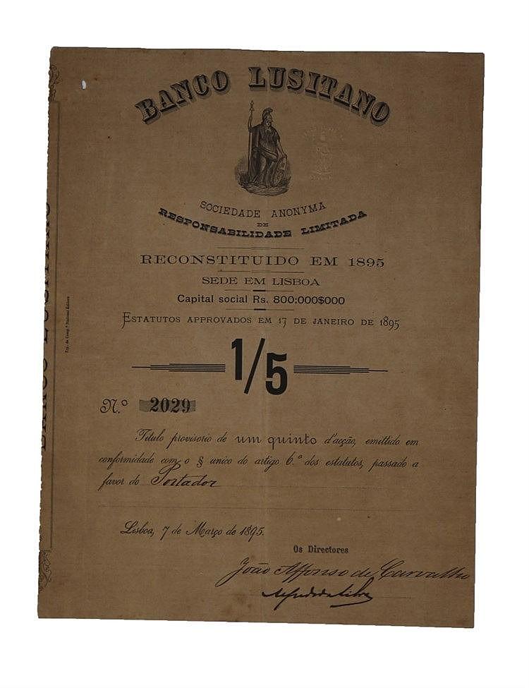 Título Provisório de 1/5 de Acção 1895