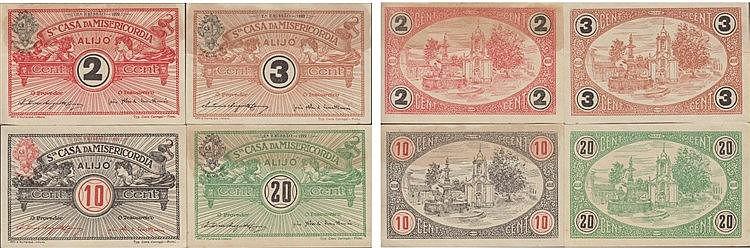 Cédula - Alijó 4 expl. 2, 3, 10, 20 Centavos 1922