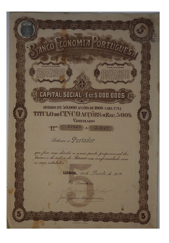 Título de Acção - 500$00 1919