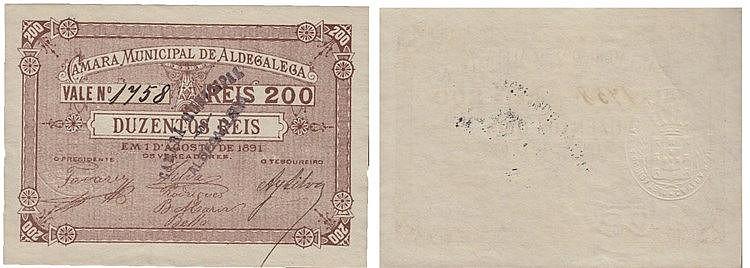 Cédula - Aldegalega 200 Réis 1891