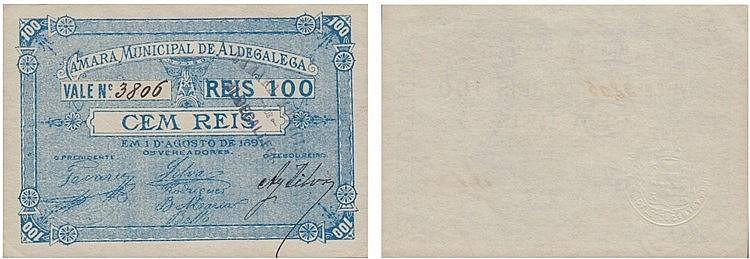 Cédula - Aldegalega 100 Reis 1891