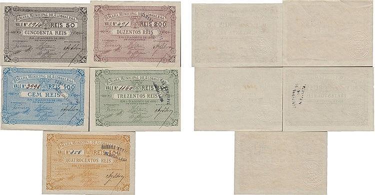 Cédula - Aldegalega 5 Expl. 50, 100, 200, 300, 400 Réis 1891