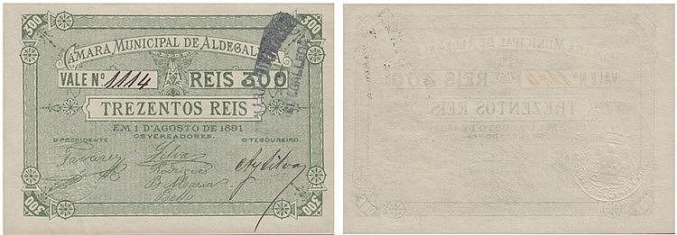 Cédula - Aldegalega 300 Reis 1891